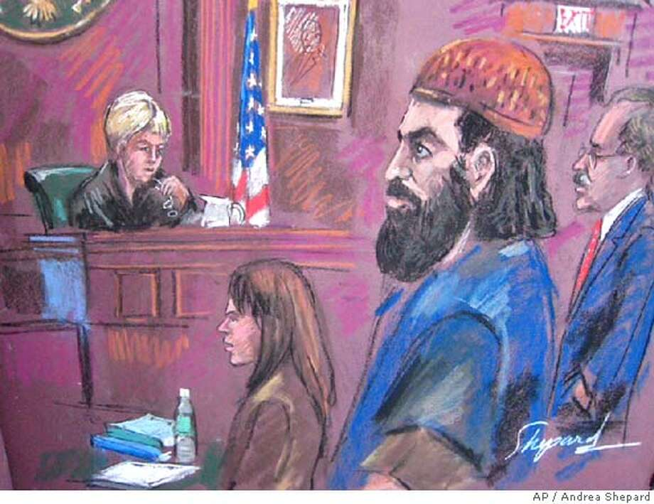 Mohammed Mansour Jabarah, second from right, a Canadian terrorist who briefly became an informant against top al-Qaida leaders is sentenced to life in prison Friday for plotting to blow up American embassies in Singapore and the Philippines, in this courtroom drawing in New York Friday Jan. 18, 2008. Federal Judge Barbara Jones, left, imposed the sentence after listening to a 20-minute speech from the admitted terrorist. At right is defense Kenneth Paul. (AP Photo/Andrea Shepard) Photo: ANDREA SHEPARD