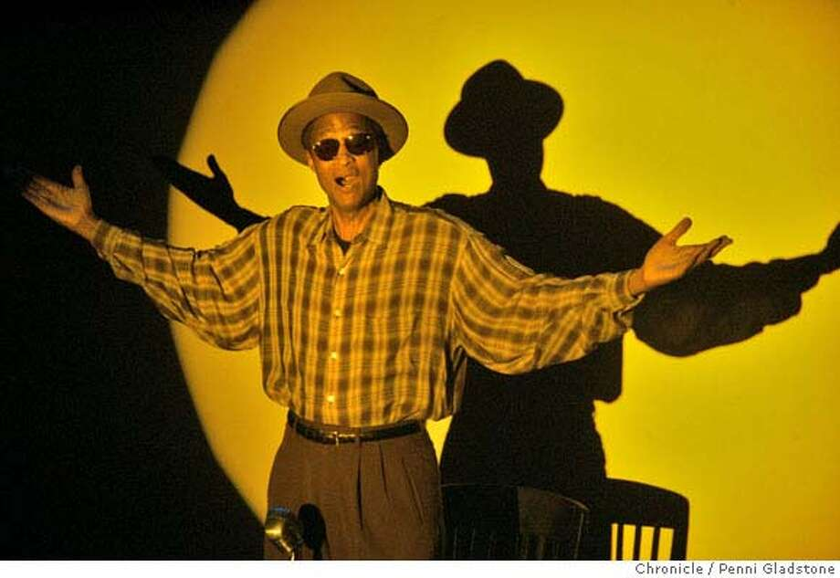"""WALKIN09003_PG.JPG  Preview performance for Walkin' Talkin"""" Bill Hawkins. one-man show by W. AllenTaylor at the Marsh .  Photo by Penni Gladstone/The San Francisco Chronicle  Photo taken on 1/5/06, in Berkeley, CA. Ran on: 01-10-2006  W. Allen Taylor plays various characters to tell of his quest to learn about his father, DJ Bill Hawkins.  Ran on: 01-23-2008  W. Allen Taylor's &quo;Walkin' Talkin' Bill Hawkins {hellip} In Search of My Father&quo; will play in San Francisco from Feb. 14 to March 2. Photo: Penni Gladstone"""