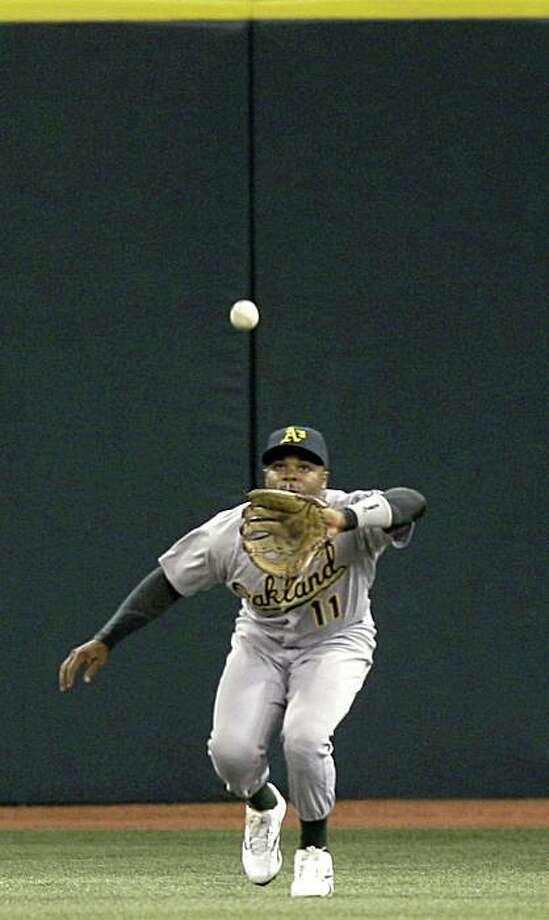 Oakland Athletics centerfielder Rajai Davis chases down a sinking line drive by Tampa Bay Rays' Carlos Pena during the second inning of a baseball game, Wednesday, May 20, 2009, in St. Petersburg, Fla. (AP Photo/Chris O'Meara) Photo: Chris O'Meara, AP