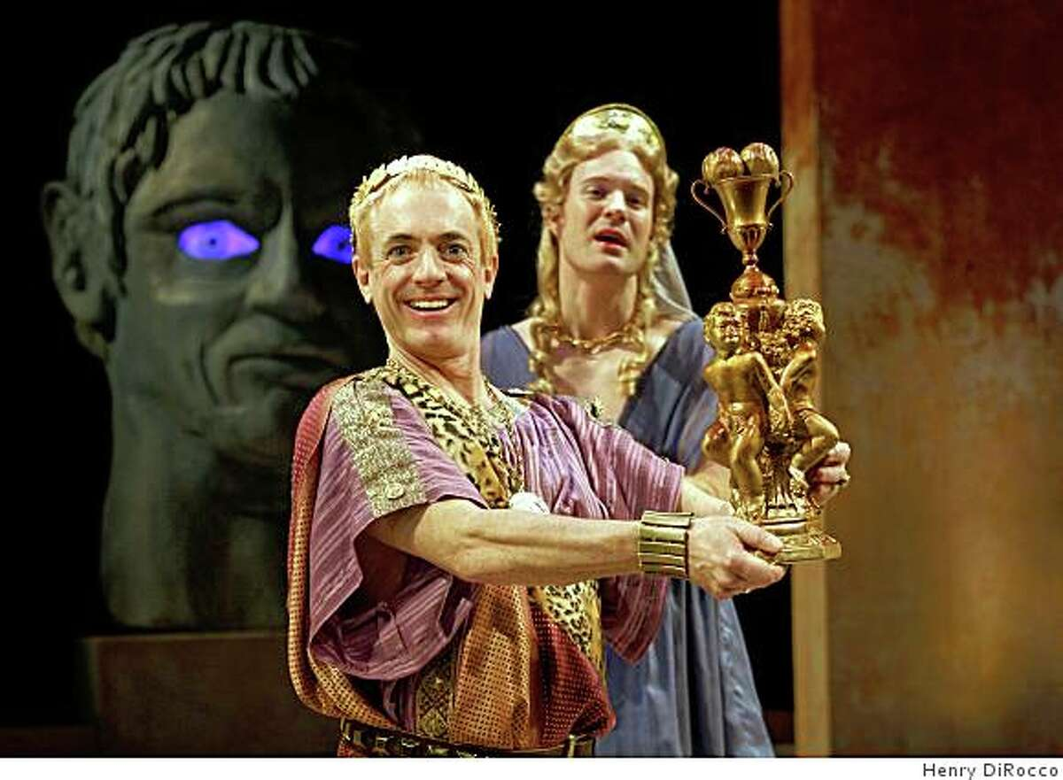 """Danny Scheie (left) as the emperor Nero and Kasey Mahaffy in Amy Freed's """"You, Nero"""" at Berkeley Rep"""