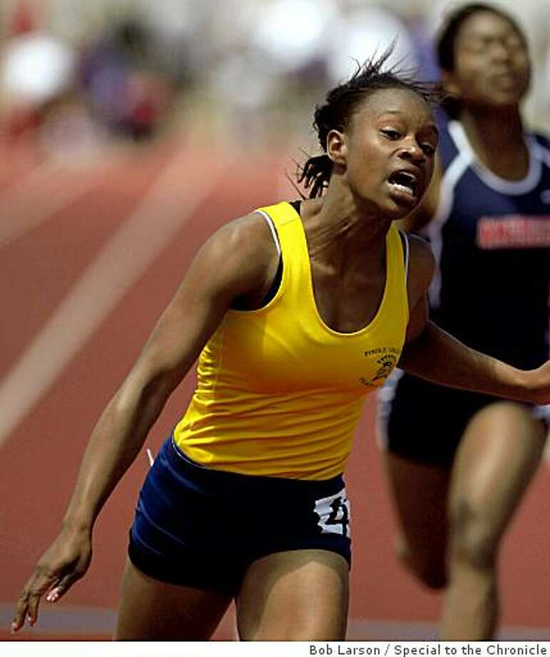 Pinole Valley Strangenae Campbell during the girls 100 meter dash at the North Coast Section, Track and Field Championship in Castro Valley, Ca., Saturday, May 23, 2009. (Special to the Chronicle / Bob Larson) Photo: Bob Larson, Special To The Chronicle