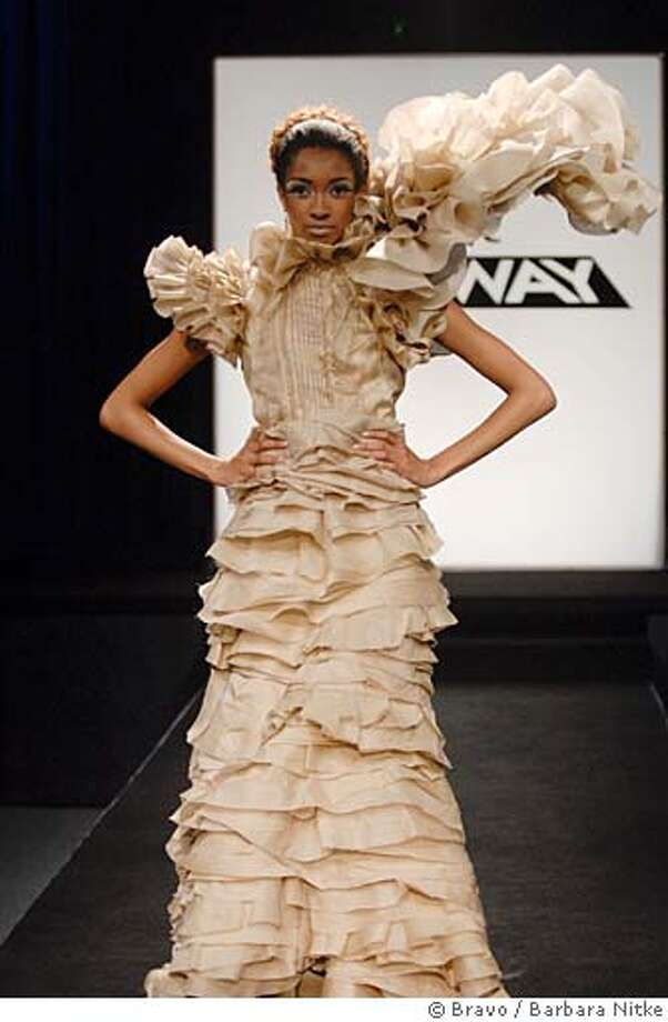 """PROJECT RUNWAY -- """"On Garde"""" Episode 408 -- Pictured: Marcia -- Bravo Photo: Barbara Nitke  Ran on: 01-20-2008  Designers Chris March and Christian used 45 yards of organza to make this elaborate gown. Photo: Barbara Nitke"""