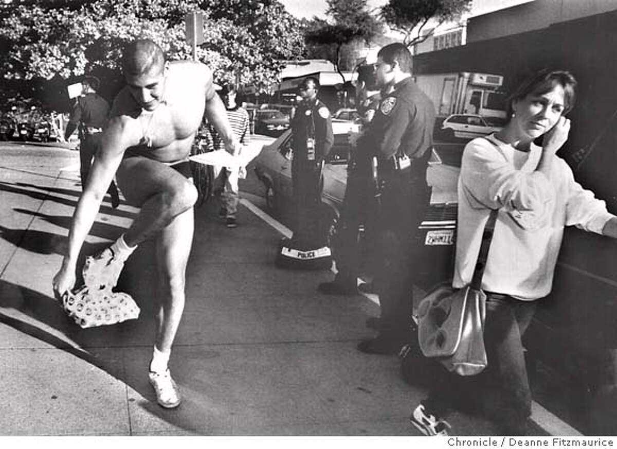 """nakedguy-0512.tif Andrew Martinez """"The Naked Guy"""" appears at a hearing on Cal Campus to see if he will be expelled on 12/1/92. Deanne Fitzmaurice/The Chronicle MANDATORY CREDIT FOR PHOTOG AND SF CHRONICLE/ -MAGS OUT"""