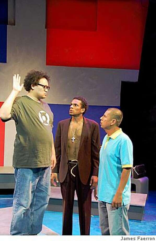 "Brian Rivera (left) as Oscar, Biko Eisen-Martin as Fuku and Carlos Aguirre as Yunior in ""Fuku Americanus"" at Intersection Photo: James Faerron"