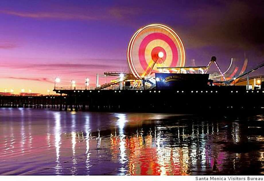 Santa Monica pier at night Photo: Santa Monica Visitors Bureau