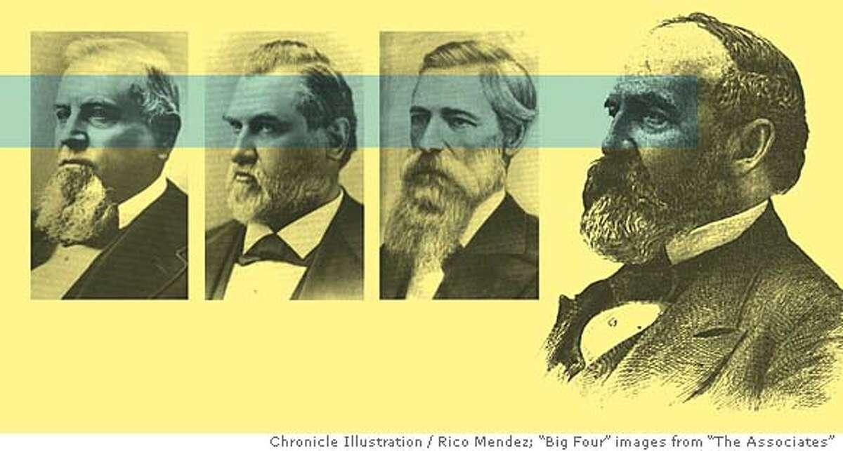 Stanford, Hopkins, Huntington, Crocker rode railroads to big profits. Chronicle illustration by Rico Mendez