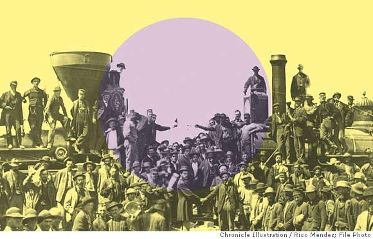 Riding the rails to big profits. Chronicle illustration by Rico Mendez