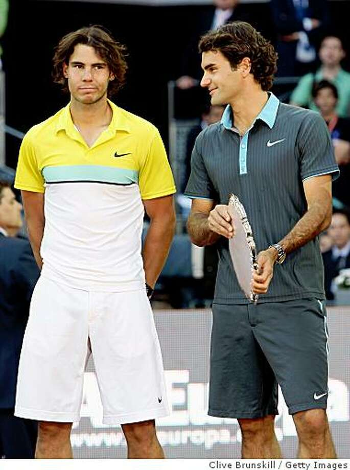MADRID, SPAIN - MAY 17:  Roger Federer of Switzerland and Rafael Nadal of Spain during the prize giving ceremony after the mens final during the Madrid Open tennis tournament at the Caja Magica on May 17, 2009 in Madrid, Spain.  (Photo by Clive Brunskill/Getty Images) Photo: Clive Brunskill, Getty Images