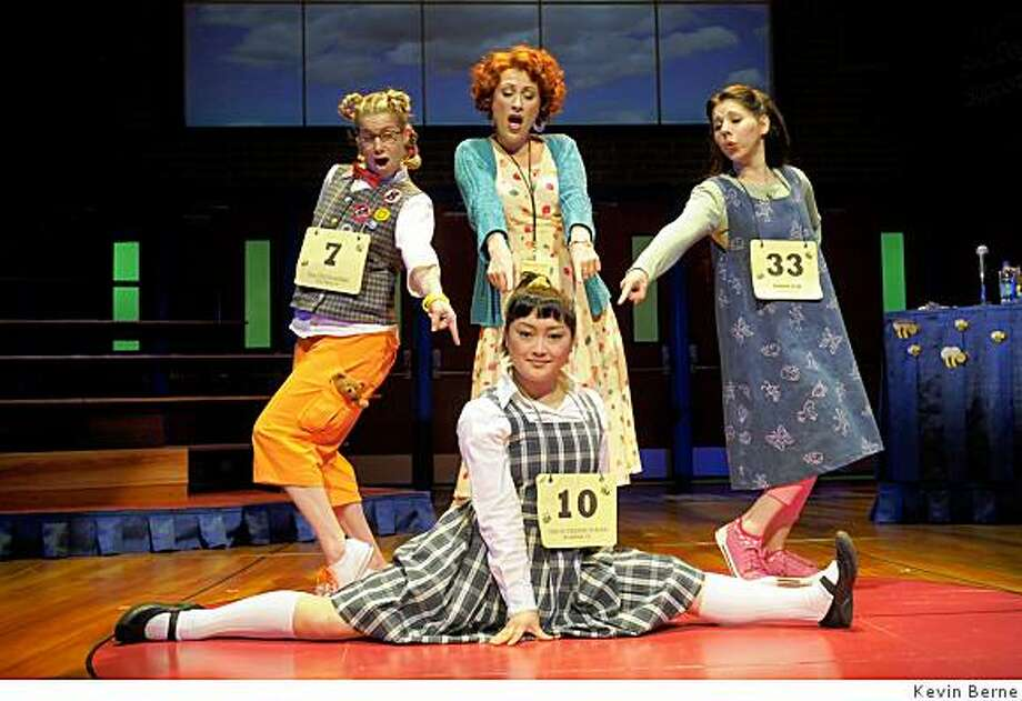 "Molly Bell (left), Alison Ewing, Dani Marcus and Sophie Oda (center, front) take part in ""The 25th Annual Putnam County Spelling Bee"" at San Jose Rep. Photo: Kevin Berne"