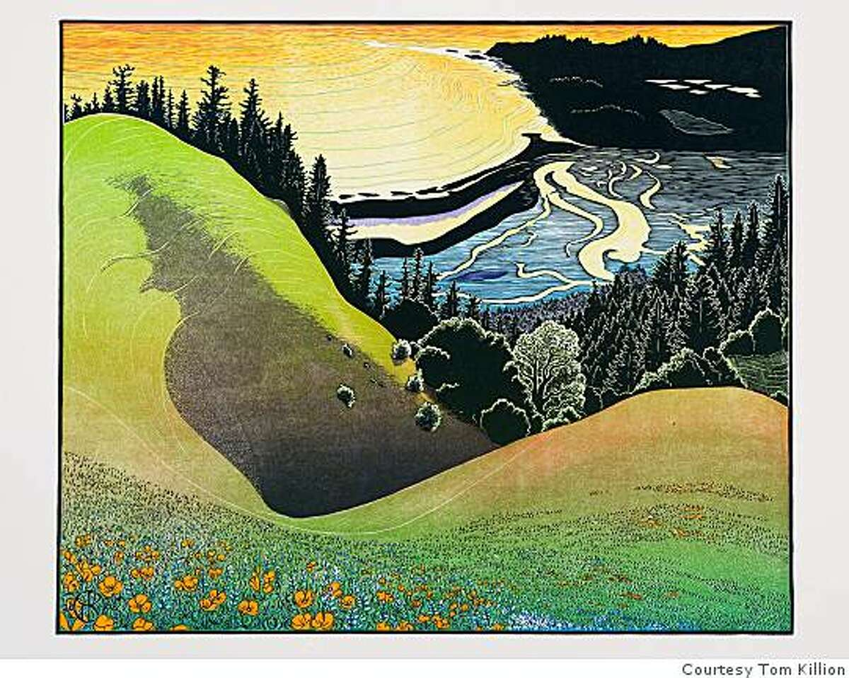 new Mt. Tam woodcut print : view from Bolinas Ridge by Tom Killion