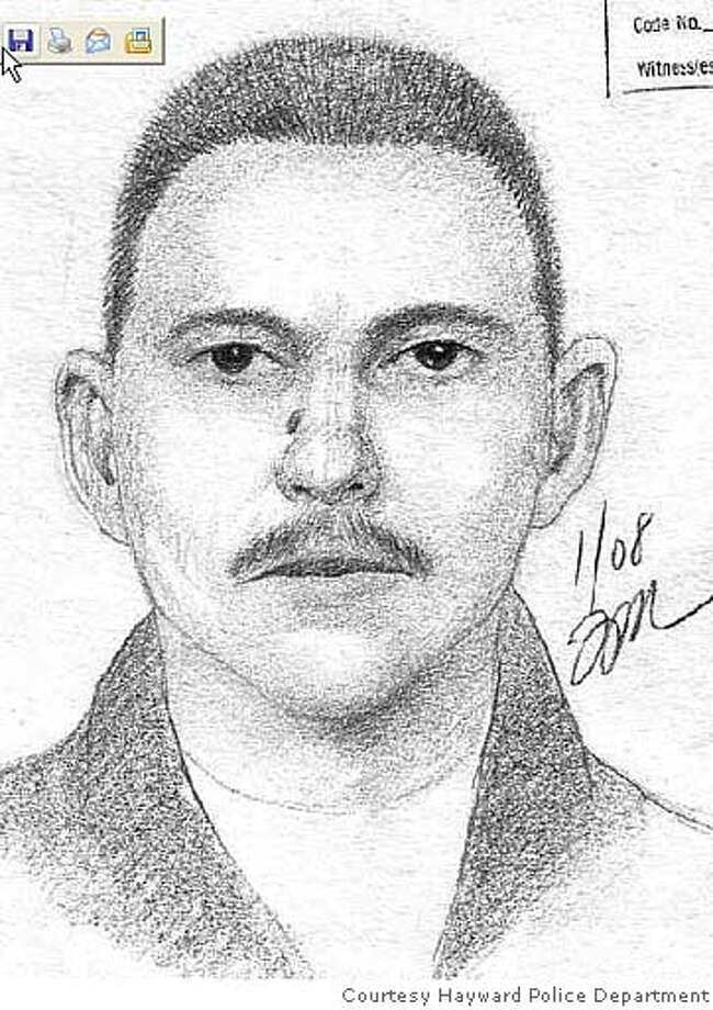 Sketch of suspect described as a Hispanic male, late 20�s to early 30�s, 5�6�, 140-160 lbs., short black hair, mustache and goatee, and mole on right side of bridge of nose. He spoke little English and had a heavy Spanish accent. Sketch courtesy Hayward Police Department