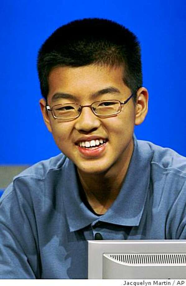 Eric Yang, 13, of The Colony, Texas, competes in the National Geographic Bee in Washington, on Wednesday, May 20, 2009. Yang won first place in the annual competition. (AP Photo/Jacquelyn Martin) Photo: Jacquelyn Martin, AP