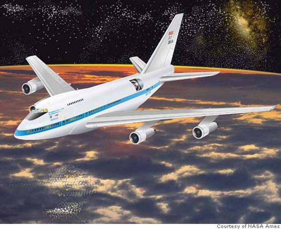 SOFIA ( Strategic Observatory for Infrared Astronomy)  Artwork of aircraft in flight over a morning sky.  Artwork courtesy of NASA Ames Photo: HO