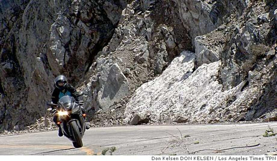Pacific Crest Highway's smooth asphalt, gentle grade and graceful curves make it a magnet for motorcyclists. A portion of the road is reopening after having been closed since 2005. Illustrates MOTORCYCLE-HIGHWAY (category a) by Susan Carpenter (c) 2009, Los Angeles Times. Moved Tuesday, May 19, 2009. (MUST CREDIT: Los Angeles Times photo by Don Kelsen.)Pacific Crest Highway's smooth asphalt, gentle grade and graceful curves make it a magnet for motorcyclists. A portion of the road is reopening after having been closed since 2005. Illustrates MOTORCYCLE-HIGHWAY (category a) by Susan Carpenter (c) 2009, Los Angeles Times. Moved Tuesday, May 19, 2009. (MUST CREDIT: Los Angeles Times photo by Don Kelsen.) Photo: Don Kelsen DON KELSEN, Los Angeles Times TPN