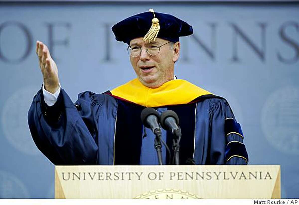 Google CEO Eric Schmidt addresses graduates during commencement ceremonies at the University of Pennsylvania in Philadelphia, Monday, May 18, 2009. (AP Photo/Matt Rourke)