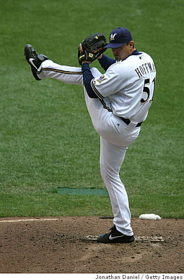MILWAUKEE - MAY 14: Trevor Hoffman #51 of the Milwaukee Brewers prepares to throw in the 9th inning against the Florida Marlins on May 14, 2009 at Miller Park in Milwaukee, Wisconsin. The Brewers defeated the Marlins 5-3. (Photo by Jonathan Daniel/Getty Images) Photo: Jonathan Daniel, Getty Images