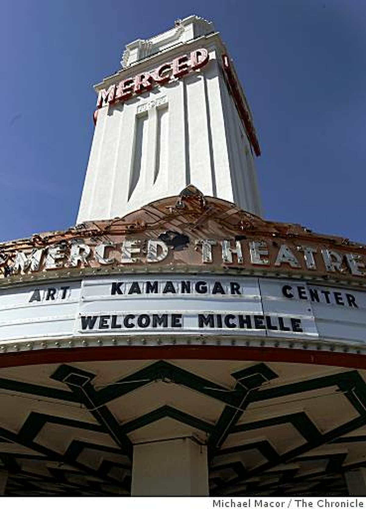 The marquee of a downtown theater in Merced, Calif., on Thursday, May 14, 2009, displays a welcome for the impending arrival of First Lady Michelle Obama, who is delivering the commencement speech for the first full graduating class of UC Merced this Saturday.