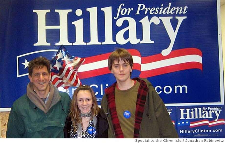 Pic of Conor, Tia and Jonathan at Clinton campaign headquarters in Des Moines  Political tourism story for Insight section by Jonathan Rabinovitz  photo courtesy of Jonathan Rabinovitz Photo: Jonathan Rabinovitz