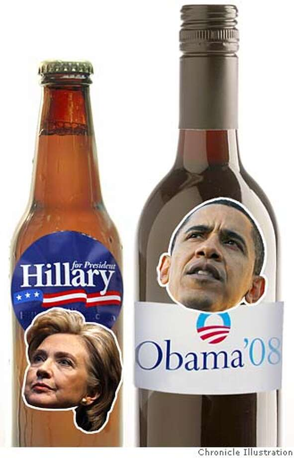 "The big showdown between Hillary Clinton and Barack Obama could come down to California's ""beer-drinking Democrats"" versus its ""wine and cheese"" liberals. Chronicle Illustration"