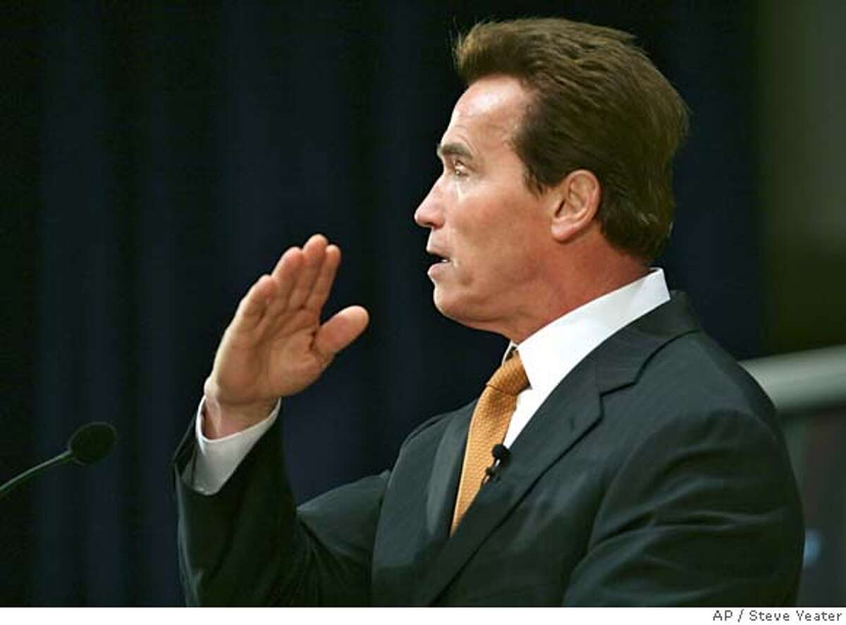 California Gov. Arnold Schwarzenegger presents his State Budget plan during a news conference in Sacramento, Calif., on Thursday, Jan. 10, 2007.(AP Photo/Steve Yeater)