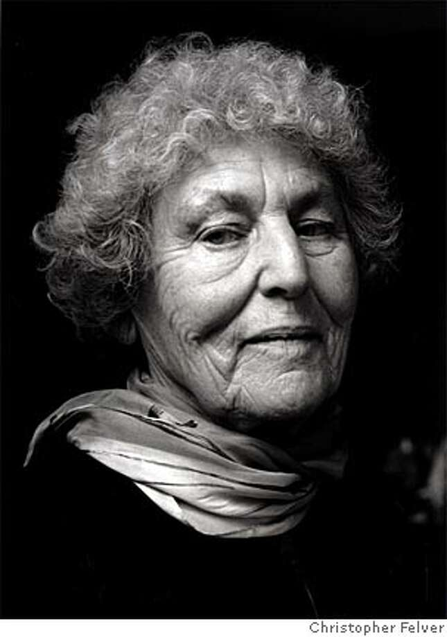 "Tillie Olsen in 2001. The writer and activist, who died last year, is the subject of a new documentary, ""Tillie Olsen: A Heart in Action."" Photo by Christopher Felver"