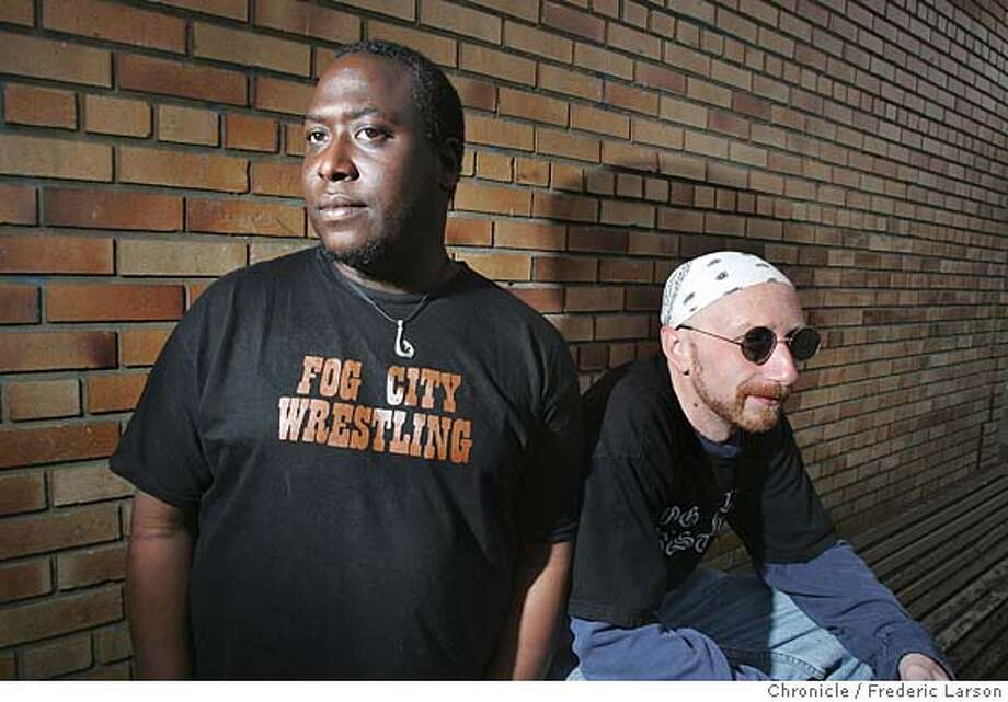"Domminick Jerry and Steve Hemenway (L-R) are co-owners of new wrestling league called ""Fog City Wrestling."" San Francisco hasn't had a ""real"" pro wrestling league since the late 70s, when crowds filled the Cow Palace weekly to watch Rick Flair bring the hurt. Since then, several punk venues have put on clownish, ironic, uber-hip ""wrestling"" shows that are high on gimmick and schtick, and only serve to mock the Vince McMahon's of the world.  Frederic Larson / The Chronicle  Photo taken on 1/10/08, in San Francisco, CA, USA Photo: Frederic Larson"