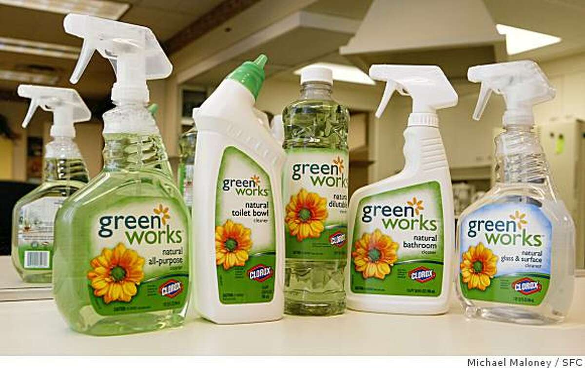 Clorox has introduced this line of environmentally-friendly household cleaning products called Green Works, made with natural, biodegradable, non-petroleum-based ingredients. Photo by Michael Maloney / The Chronicle