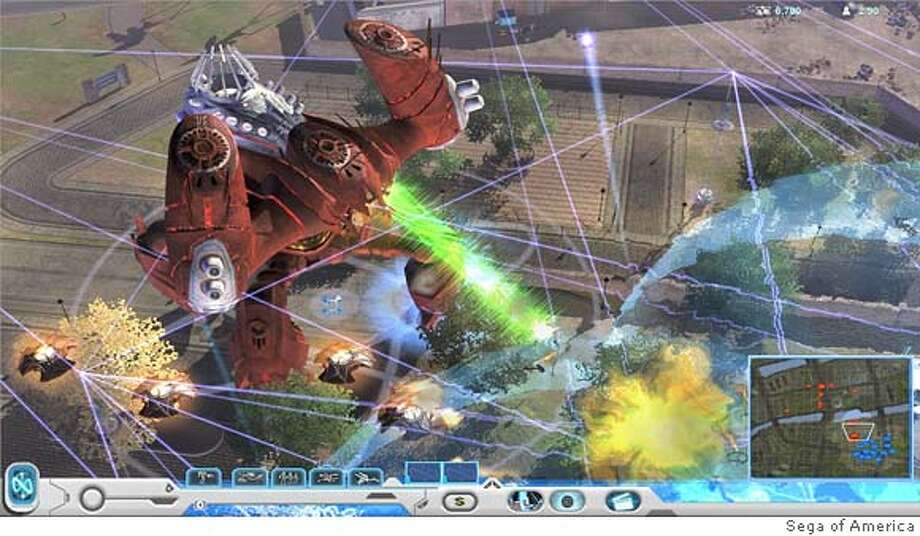 Screenshot from Universe at War by game developer, Petroglyph. Pictured: A Hierachy Assembly Walker attacks a Novus base.  SEGA of America Photo: SEGA Of America