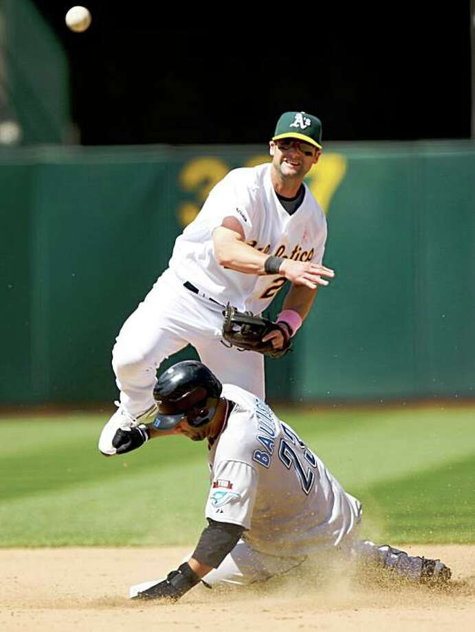 OAKLAND, CA - MAY 10: Jose Bautista #23 of the Toronto Blue Jays slides into second on a fielder's choice hit by Marco Scutaro as Adam Kennedy #29 of the Oakland Athletics throws to first during a Major League Baseball game on May 10, 2009 at the Oakland Coliseum in Oakland, California. (Photo by Jed Jacobsohn/Getty Images) Photo: Jed Jacobsohn, Getty Images