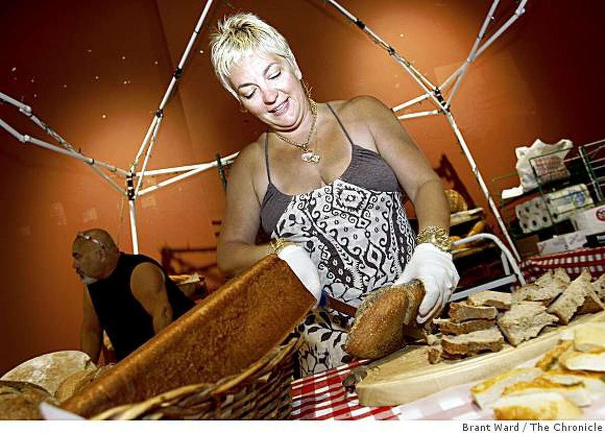Viviane Adriao and some of the breads from her Panorama Baking Co. of San Francisco. She will sell her baked goods at the market. The Island Earth Farmer's Market is opening up on the ground floor of the Metreon at 4th and Mission Streets in downtown San Francisco.