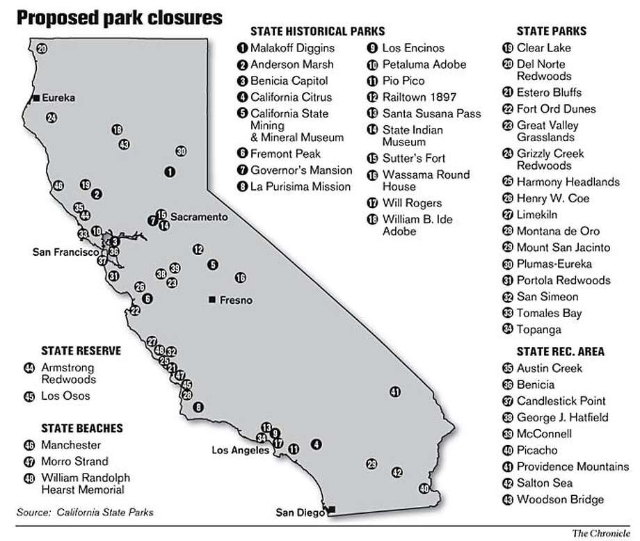 Proposed park closures. Chronicle Graphic