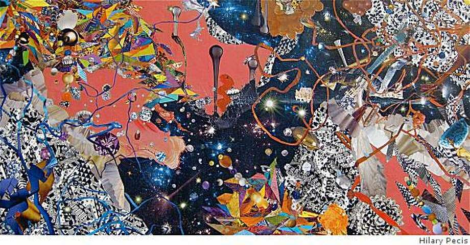 """Hilary Pecis' Untitled from the Spring Series, 24 x 48"""" ink, collage acrylic on panel, 2009 Photo: Hilary Pecis"""
