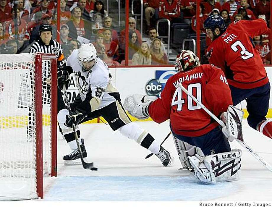 WASHINGTON - MAY 13: Simeon Varlamov #40 of the Washington Capitals fails to stop a first period goal by Sidney Crosby #87 of the Pittsburgh Penguins during Game Seven of the Eastern Conference Semifinal Round of the 2009 Stanley Cup Playoffs at Verizon Center May 13, 2009 in Washington, DC.  (Photo by Bruce Bennett/Getty Images) Photo: Bruce Bennett, Getty Images