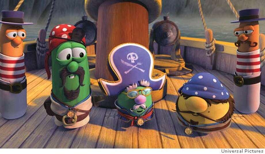 (L to R, center) ELLIOT, SEDGEWICK and GEORGE (flanked by two STEADFAST SOLDIERS) in an animated comedy about the misadventures of three veggie pals who reluctantly set sail for adventure: ?The Pirates Who Don?t Do Anything--A VeggieTales Movie?. Photo: Credit: Universal Pictures