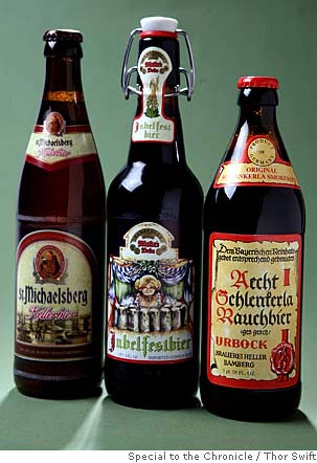 Three bottles of Franconia-style beer photographed Thursday, Jan. 3, 2008 at the San Francisco Chronicle studio. Thor Swift For The San Francisco Chronicle