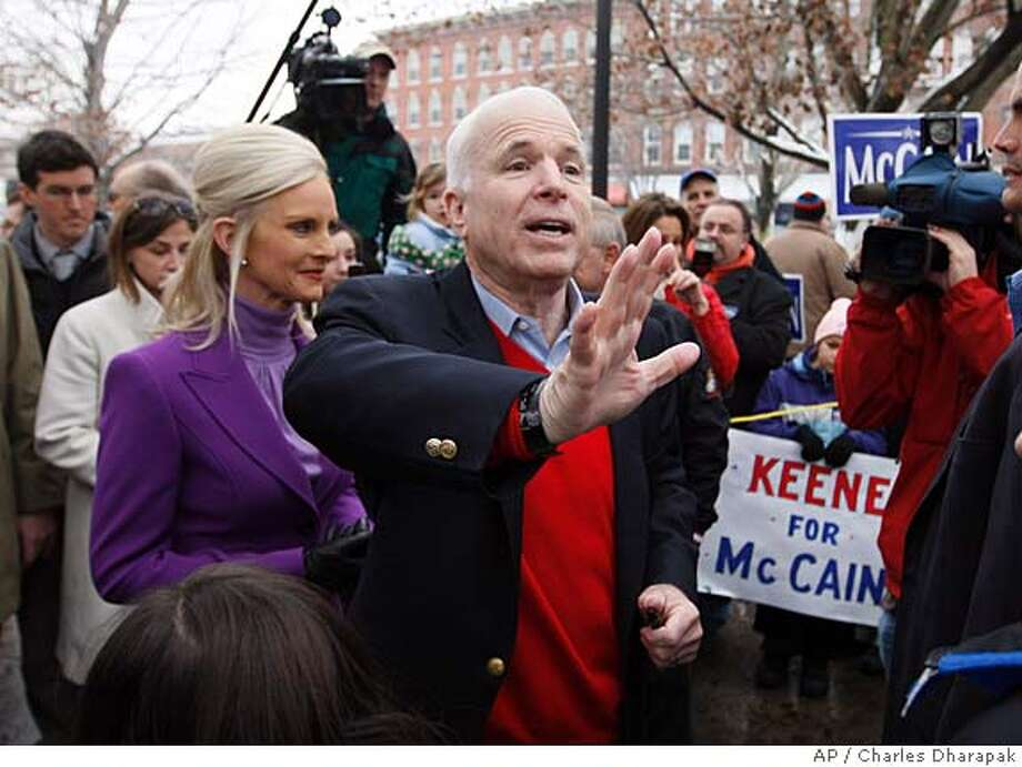 Republican presidential hopeful Sen. John McCain, R-Ariz., greets supporters during a campaign stop in Keene, N.H., Monday, Jan. 7, 2008. (AP Photo/Charles Dharapak) Photo: Charles Dharapak