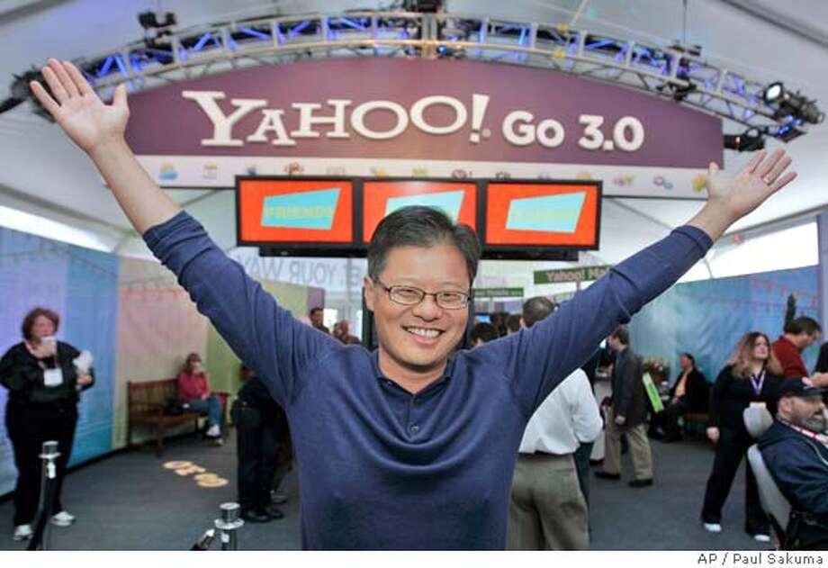 Yahoo CEO Jerry Yang gives the Yahoo! gesture in the Yahoo booth after he gave his keynote address at the Consumer Electronics Show (CES) in Las Vegas, Monday, Jan. 7, 2008. (AP Photo/Paul Sakuma) Photo: Paul Sakuma