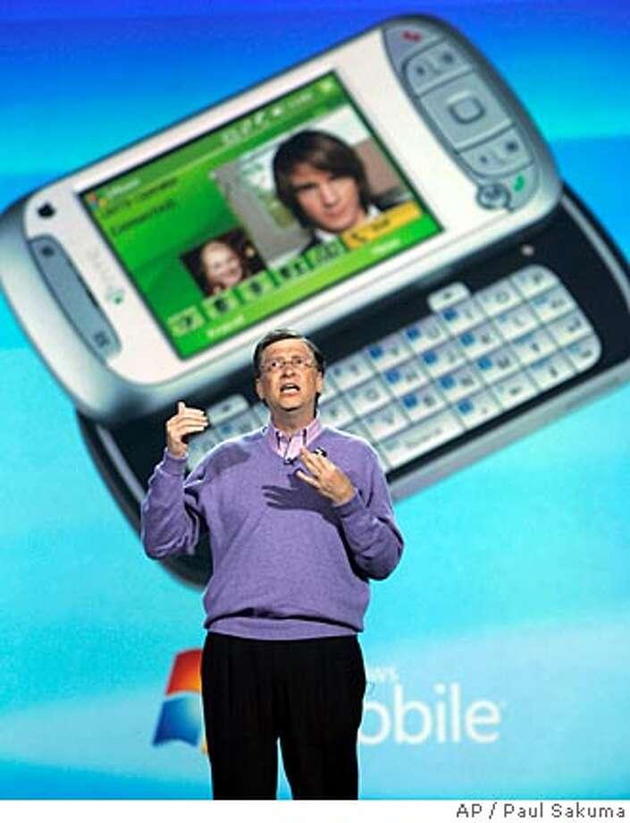Microsoft chairman Bill Gates speaks in the keynote address at the Consumer Electronics Show (CES) in Las Vegas, Sunday, Jan. 6, 2008. (AP Photo/Paul Sakuma) Photo: Paul Sakuma