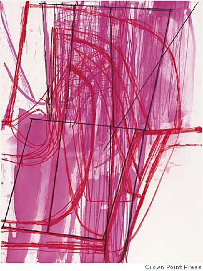 """Amy Sillman's etching """"N&V"""" is bold in color and execution. Photo courtesy of Crown Point Press"""