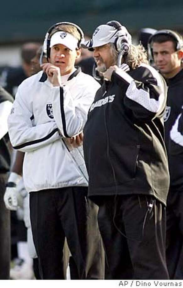 Oakland Raiders coach Lane Kiffin, left, confers with defensive coordinator Rob Ryan during the third quarter against the San Diego Chargers in an NFL football game Sunday, Dec. 30, 2007, in Oakland, Calif. The Chargers won 30-17. (AP Photo/Dino Vournas) EFE OUT Photo: Dino Vournas