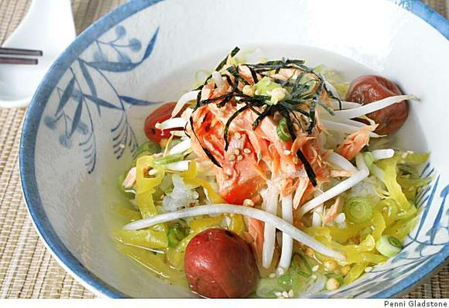 Ingredients for Ochazuke, green tea served over rice, with other accompaniments like salmon added. Photo: Penni Gladstone