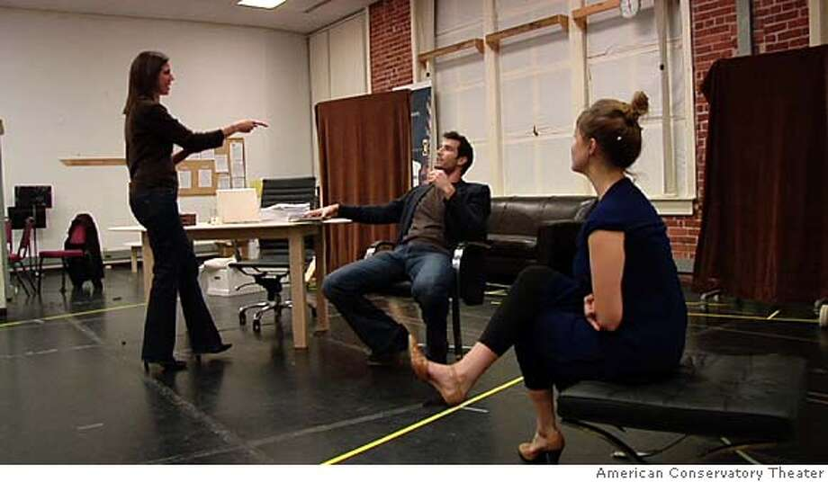 Speed-the-Plow  L to R: Loretta Greco, Matthew Del Negro, and Jessi Campbell Photo: American Conservatory Theater