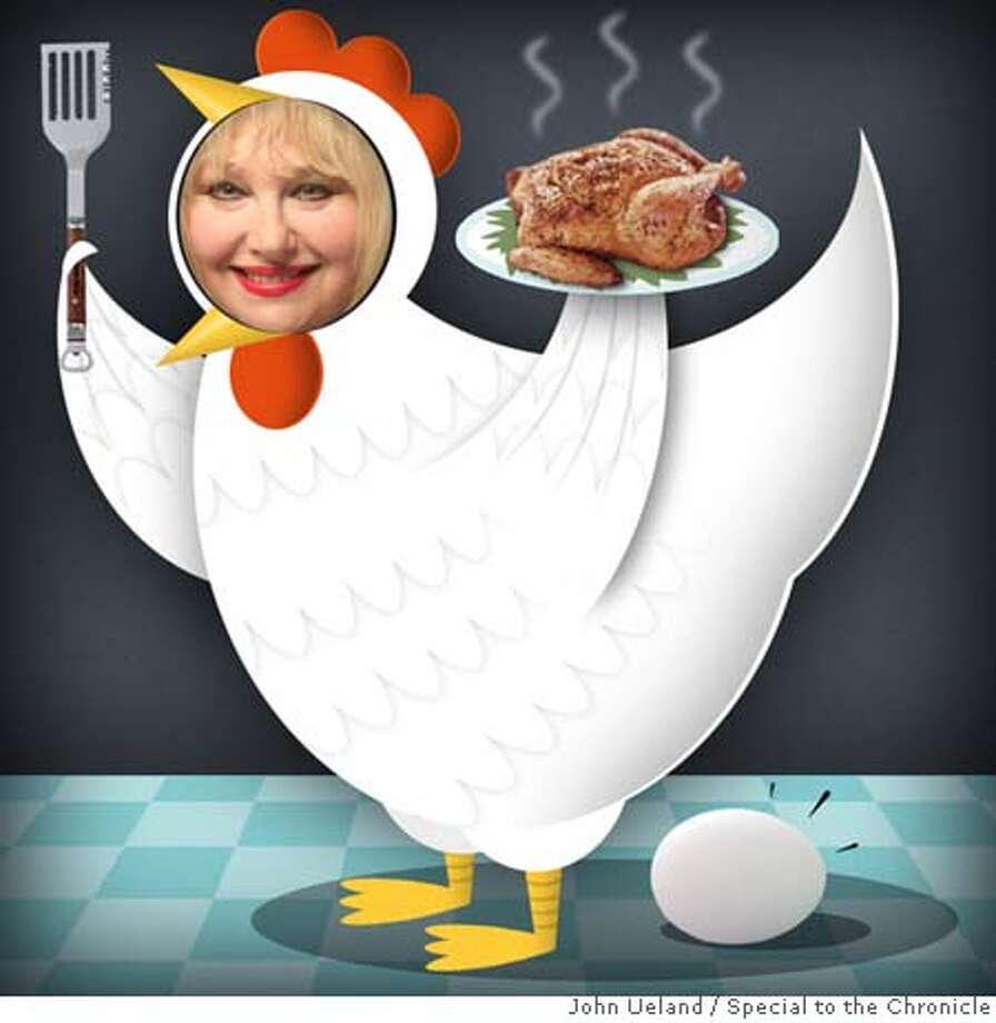 Illustration of Marlena in a chicken outfit. For the Roving Feast chicken column. To run sometime in January 2008. Photo: John Ueland