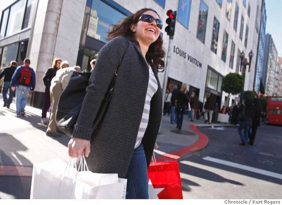 Andrea Bobke of San Francisco shops . Shoppers in down town San Francisco who were looking for after Christmas sales.  SHOPPING27_0034_KR.jpg  Kurt Rogers / The Chronicle Photo taken on 12/26/07, in San Francisco, CA, USA Photo: Kurt Rogers