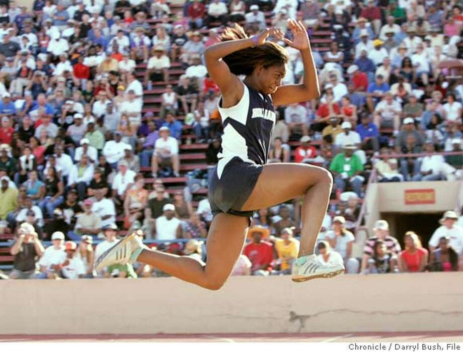 statetrack03_0018_db.JPG  Ke'Nyia Richardson of Holy Names jumps in one of her attempts for Girls Triple Jump and goes on to win the event, at the CIF State Track and Field Championships finals at Sacramento City College in Sacramento, CA, on Saturday, June, 2, 2007. photo taken: 6/2/07  Darryl Bush / The Chronicle ** roster (cq) Ran on: 06-03-2007  Ke'Nyia Richardson of Holy Names turned in a triple jump performance for the ages, going over 44 feet on five consecutive attempts before finishing off with a wind-aided winning effort of 45-4�.  Ran on: 06-03-2007  Ke'Nyia Richardson of Holy Names turned in a triple jump performance for the ages, going over 44 feet on five consecutive attempts before finishing off with a wind-aided winning effort of 45-4�. MANDATORY CREDIT FOR PHOTOG AND SF CHRONICLE/NO SALES-MAGS OUT Photo: Darryl Bush