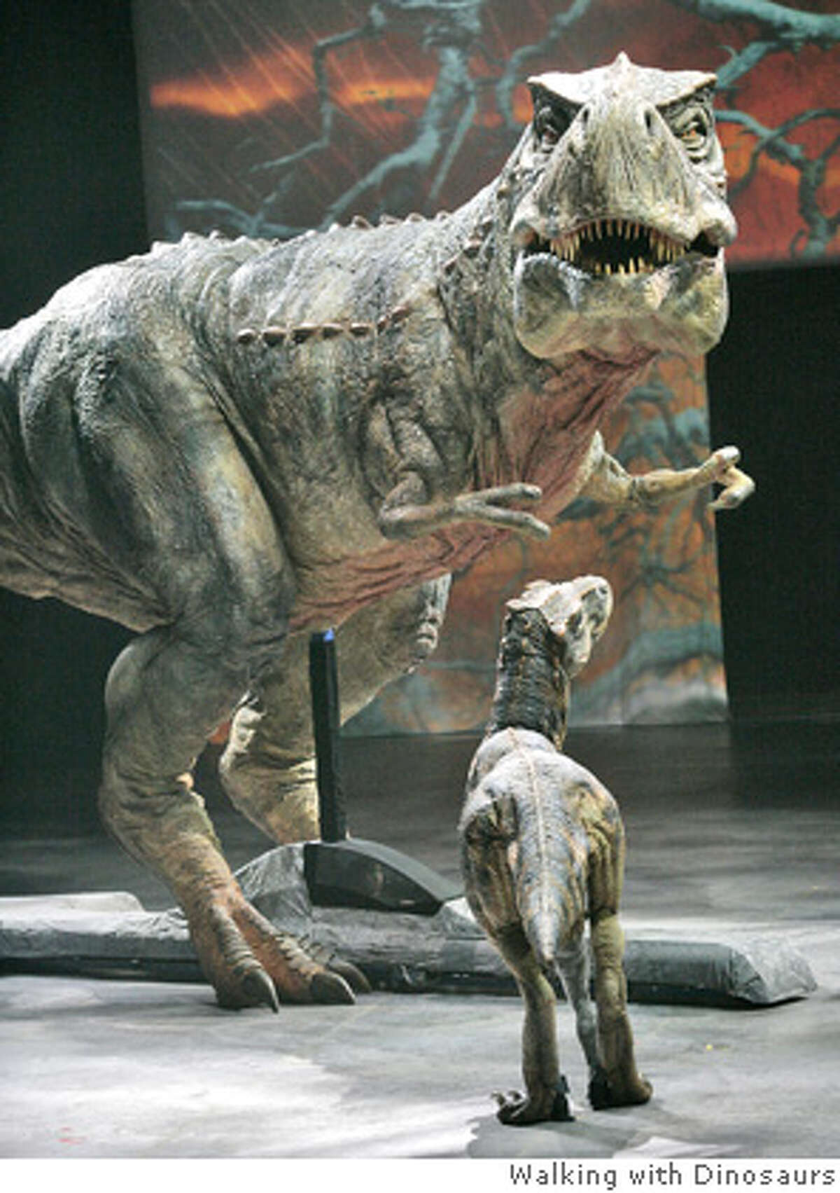 A Tyranosaurus Rex and her baby are on view at