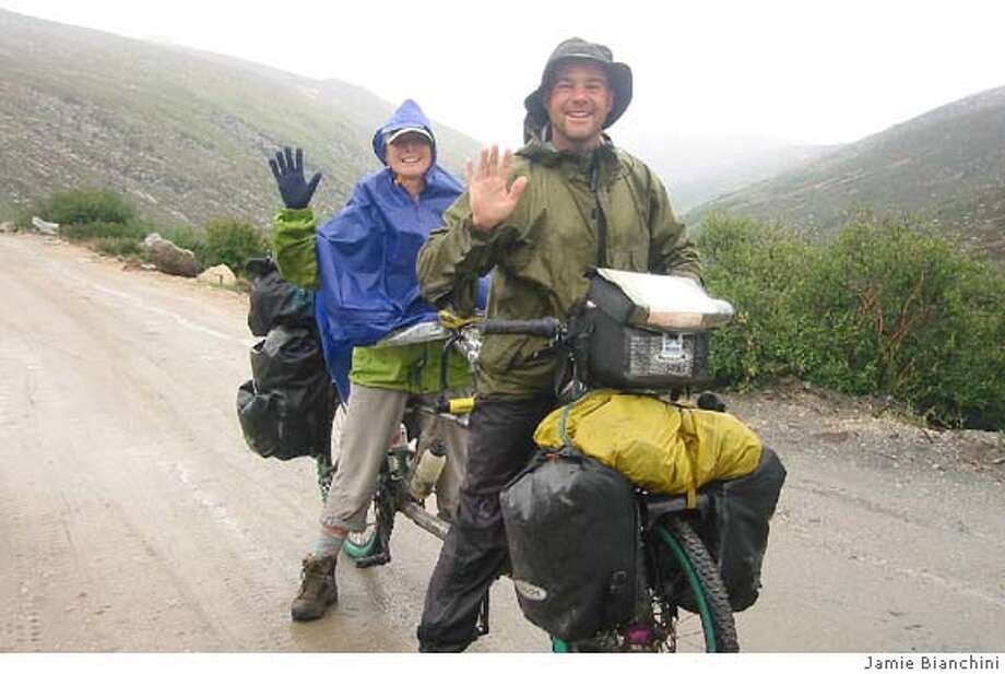 Jamie Bianchini and Jane from Australia beats her chronic Arthritus and pedals over a 5,000 meter pass, 2006. photo courtesy Jamie Bianchini Photo: -
