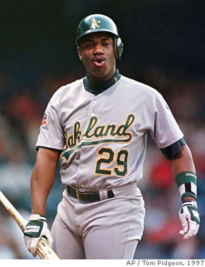 Oakland Athletics' Geronimo Berroa reacts after striking out in the first inning against Detroit Tigers starting pitcher Willie Blair in Detroit on Tuesday, June 10, 1997. (AP Photo/Tom Pidgeon) CAT Photo: TOM PIDGEON