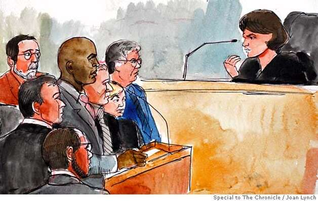 Joan Lynch sketch of Bonds in court.  JOAN_LYNCH_ (From Left, Barry Bonds, attorneys Michael Raine, Christina Arguedas and Allen Rudy and Judge Susan Illston in U.S. district court in San Francisco on Friday, Dec. 21 MANDATORY CREDIT FOR PHOTOG AND SAN FRANCISCO CHRONICLE/NO SALES-MAGS OUT Photo: Joan Lynch