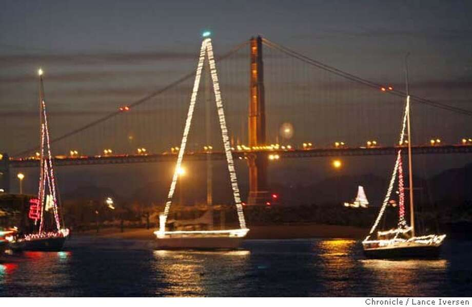 LIGHTS15_PBX_92565.JPG  More than 100 boats all decked out for the holiday's with lights and decorations toured San Francisco waterfront in a boat parade Friday night. The tour started in front of Fort Mason piers, and proceeds west toward Crissy Field. Lance Iversen/San Francisco Chronicle (cq) SUBJECT 12/14/07,in SAN FRANCISCO Ca. MANDATORY CREDIT PHOTOG AND SAN FRANCISCO CHRONICLE/NO SALES MAGS OUT Photo: Lance Iversen